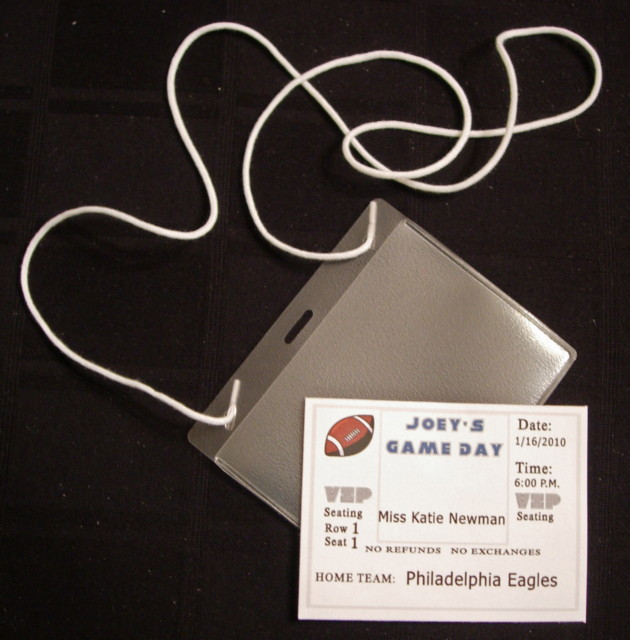Custom Football Bar Mitzvah Place Card with Holder