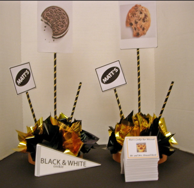Cookie Theme Bar Mitzvah Centerpiece and Custom Place Cards