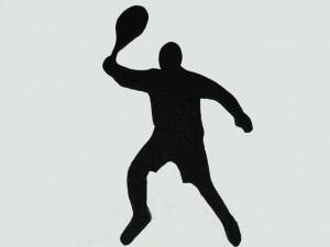 Tennis Player Cut Out Over Hand