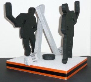 DIY Hockey Centerpiece with Foam Shape Hockey Player Cut Outs