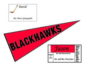 Hockey Theme Place Cards and Table Name Pennants