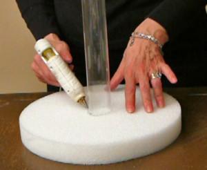 Flexible Plastic Tube Glued To Styrofoam Base