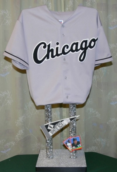 "Tall Sports Jersey centerpiece with 16"" tubes"