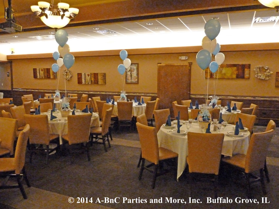 Banquet Room Set Up With Custom Centerpeices and Balloons