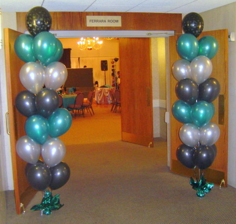 Quad Balloon Columns Decorate The Entrance Way