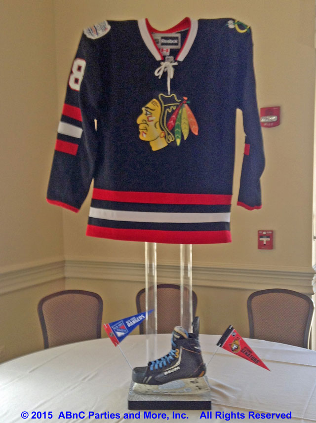Tall Ice Hockey Jersey Centerpiece - Blackhawks