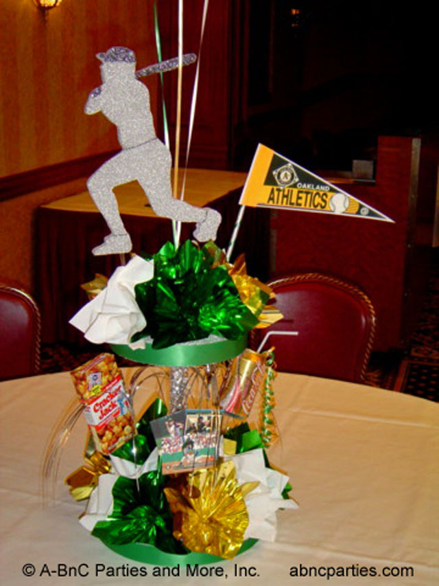 Custom theme centerpiece decorations for parties and events baseball centerpiece 04 junglespirit