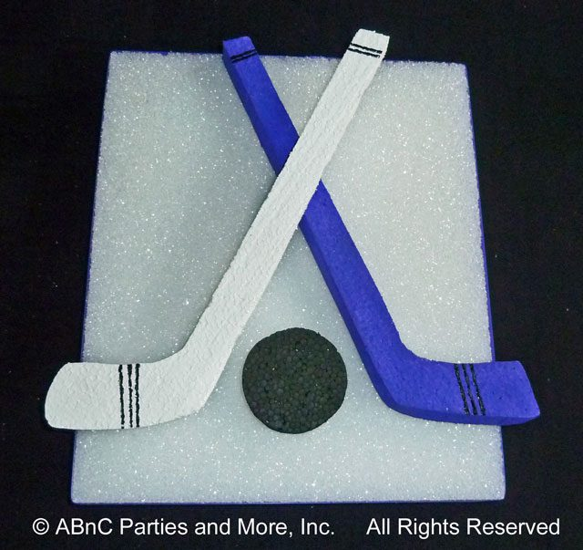 Detailed and Painted Ice Hockey Sticks
