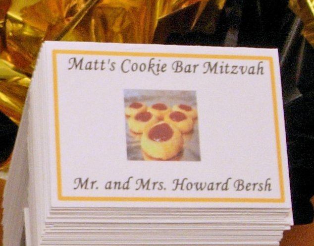 Close Up of Custom Cookie Theme Bar Mitzvah Place Card