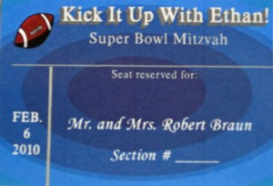 Custom Sports Football Bar Mitzvah Place Card