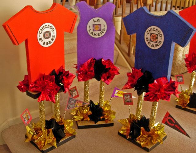 Tall Custom Sports Jersey Centerpieces