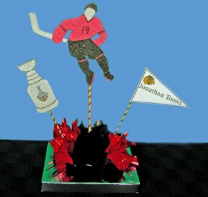 Custom Chicago Blackhawk Hockey Centerpiece