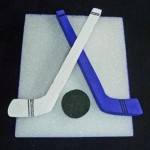 Detailed Hockey Sticks and Puck Cut Outs