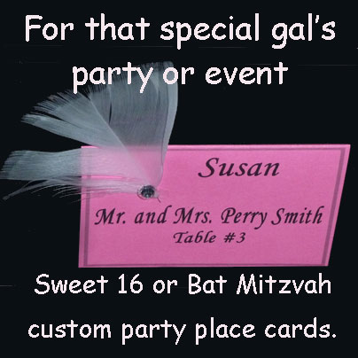 Custom Party Place Card for Girl's Sweet 16 Party