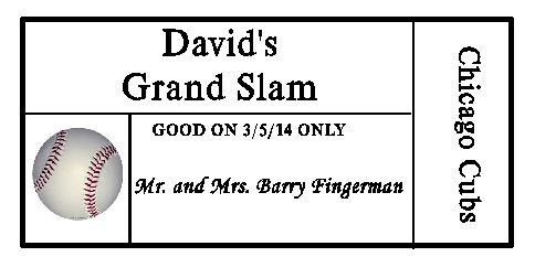 Baseball place card with baseball graphic