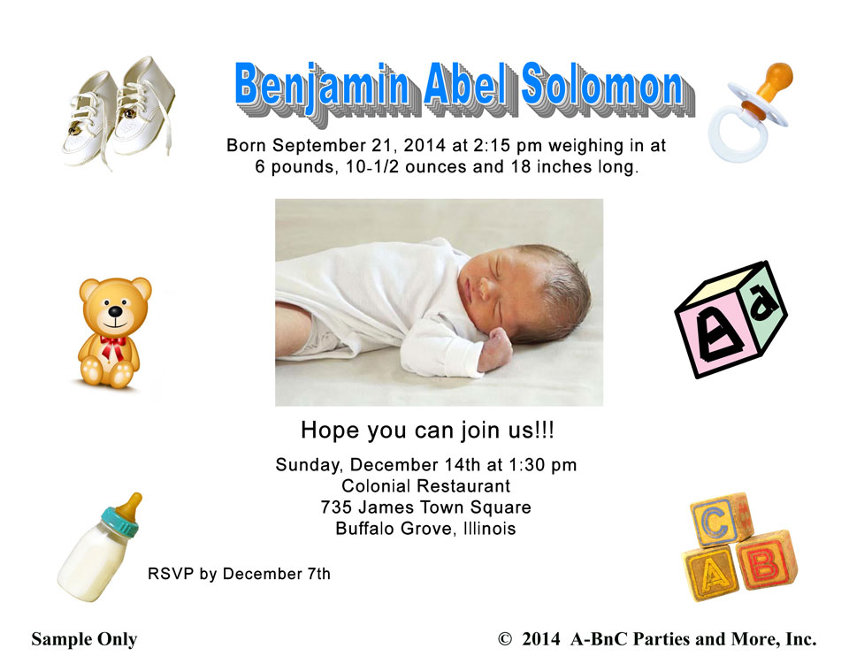 Baby Birthday Party Invitation - Buffalo Grove