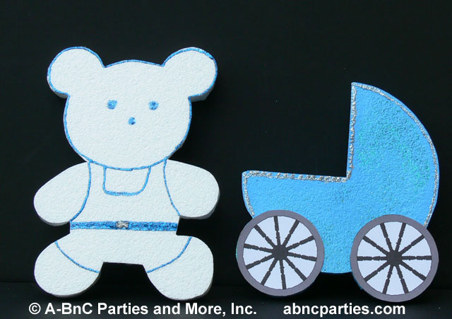 Boy Teddy Bear and Baby Carriage