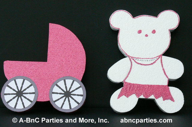 Girl Teddy Bear and Baby Carriage