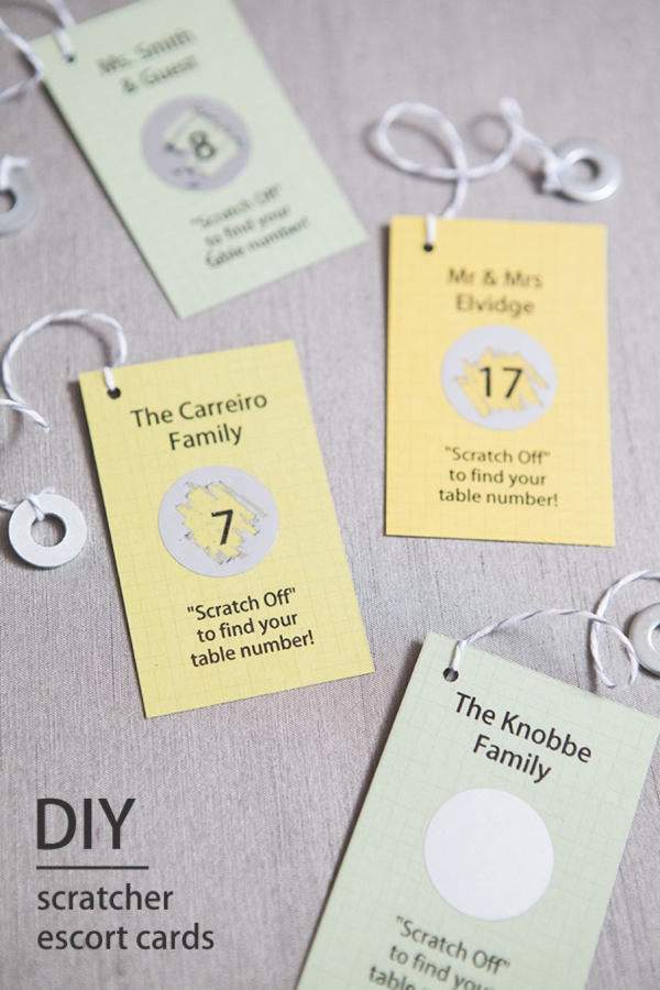 I found the coolest scratch off diy table place cards party courtesy of something turquoise solutioingenieria Images